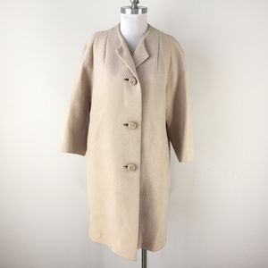 Vintage Beige Textured Swing Coat wool M L